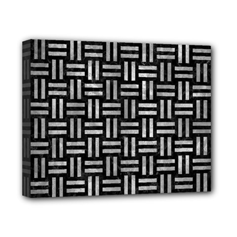 Woven1 Black Marble & Gray Metal 2 Canvas 10  X 8  by trendistuff