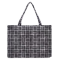Woven1 Black Marble & Gray Metal 2 (r) Zipper Medium Tote Bag by trendistuff