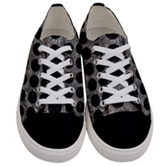 Circles1 Black Marble & Gray Stone (r) Women s Low Top Canvas Sneakers