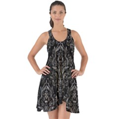 Damask1 Black Marble & Gray Stone Show Some Back Chiffon Dress by trendistuff
