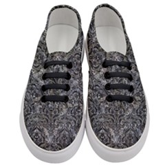 Damask1 Black Marble & Gray Stone (r) Women s Classic Low Top Sneakers