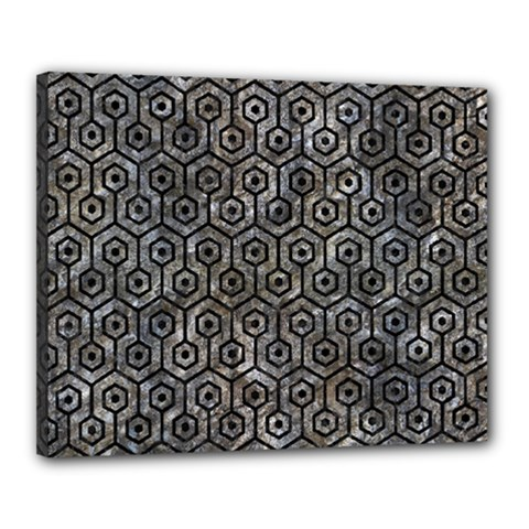 Hexagon1 Black Marble & Gray Stone (r) Canvas 20  X 16  by trendistuff