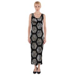 Hexagon2 Black Marble & Gray Stone (r) Fitted Maxi Dress by trendistuff