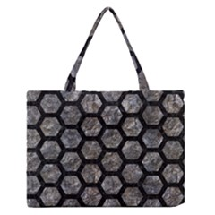 Hexagon2 Black Marble & Gray Stone (r) Zipper Medium Tote Bag by trendistuff