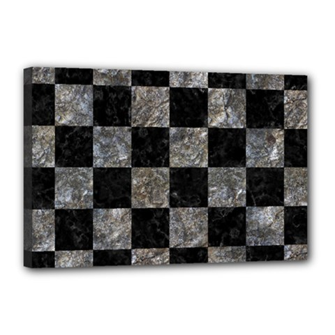 Square1 Black Marble & Gray Stone Canvas 18  X 12  by trendistuff