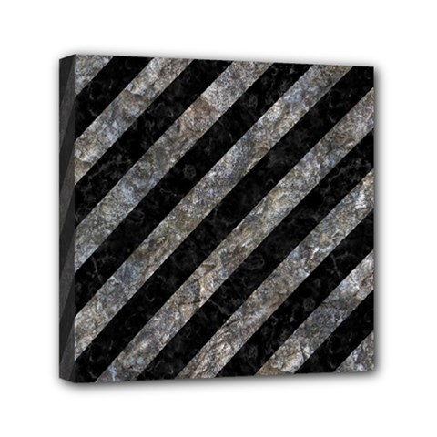 Stripes3 Black Marble & Gray Stone Mini Canvas 6  X 6  by trendistuff
