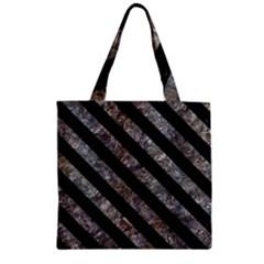Stripes3 Black Marble & Gray Stone (r) Zipper Grocery Tote Bag by trendistuff