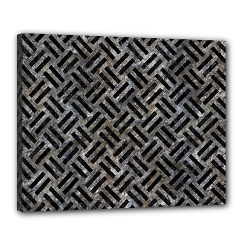Woven2 Black Marble & Gray Stone (r) Canvas 20  X 16  by trendistuff