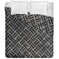 Woven2 Black Marble & Gray Stone (r) Duvet Cover Double Side (california King Size) by trendistuff