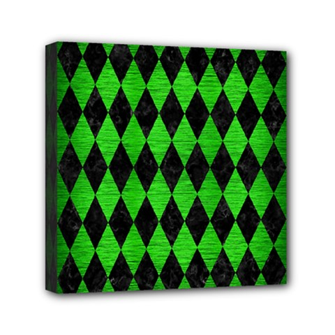 Diamond1 Black Marble & Green Brushed Metal Mini Canvas 6  X 6  by trendistuff