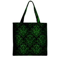 Damask1 Black Marble & Green Brushed Metal Zipper Grocery Tote Bag by trendistuff