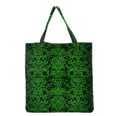 Damask2 Black Marble & Green Brushed Metal Grocery Tote Bag by trendistuff