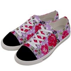 Shabby Chic,pink,roses,polka Dots Women s Low Top Canvas Sneakers by 8fugoso