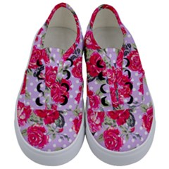 Shabby Chic,pink,roses,polka Dots Kids  Classic Low Top Sneakers