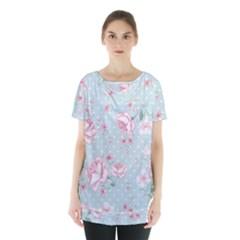 Shabby Chic,pink,roses,polka Dots Skirt Hem Sports Top by Love888