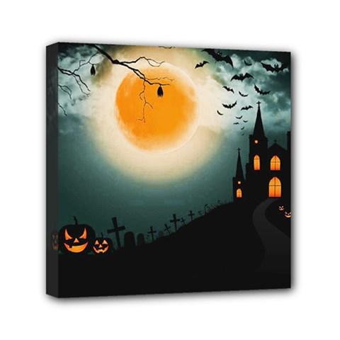 Halloween Landscape Mini Canvas 6  X 6  by Valentinaart