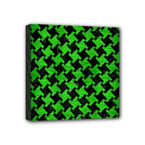 Houndstooth2 Black Marble & Green Brushed Metal Mini Canvas 4  X 4  by trendistuff