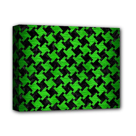 Houndstooth2 Black Marble & Green Brushed Metal Deluxe Canvas 14  X 11  by trendistuff