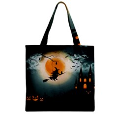 Halloween Landscape Zipper Grocery Tote Bag by Valentinaart
