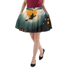 Halloween Landscape A Line Pocket Skirt by Valentinaart