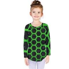 Hexagon2 Black Marble & Green Brushed Metal Kids  Long Sleeve Tee by trendistuff