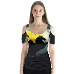 Headless Horseman Butterfly Sleeve Cutout Tee  by Valentinaart