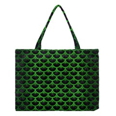 Scales3 Black Marble & Green Brushed Metal Medium Tote Bag by trendistuff