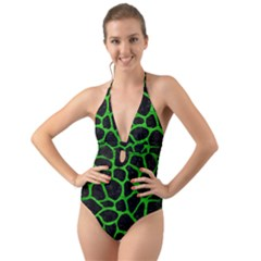 Skin1 Black Marble & Green Brushed Metal (r) Halter Cut Out One Piece Swimsuit