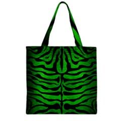 Skin2 Black Marble & Green Brushed Metal (r) Zipper Grocery Tote Bag by trendistuff