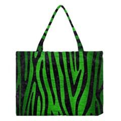 Skin4 Black Marble & Green Brushed Metal Medium Tote Bag by trendistuff