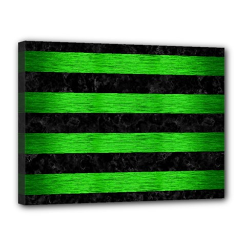 Stripes2 Black Marble & Green Brushed Metal Canvas 16  X 12  by trendistuff