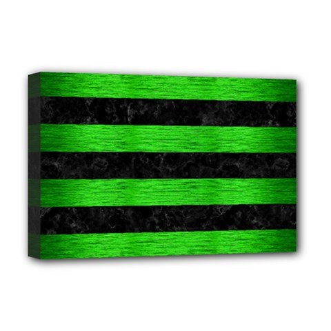 Stripes2 Black Marble & Green Brushed Metal Deluxe Canvas 18  X 12   by trendistuff