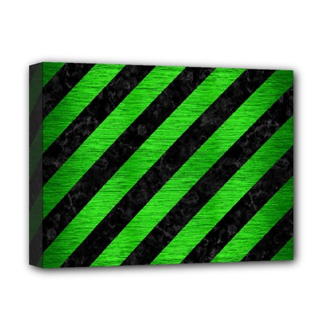 Stripes3 Black Marble & Green Brushed Metal Deluxe Canvas 16  X 12   by trendistuff