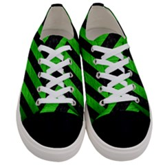 Stripes3 Black Marble & Green Brushed Metal Women s Low Top Canvas Sneakers