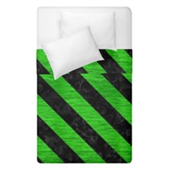Stripes3 Black Marble & Green Brushed Metal (r) Duvet Cover Double Side (single Size) by trendistuff