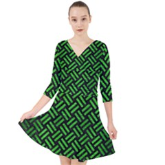 Woven2 Black Marble & Green Brushed Metal Quarter Sleeve Front Wrap Dress