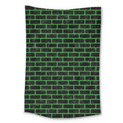 Brick1 Black Marble & Green Colored Pencil Large Tapestry by trendistuff