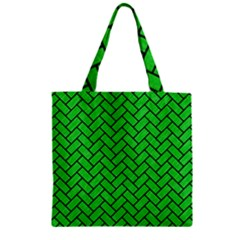 Brick2 Black Marble & Green Colored Pencil (r) Zipper Grocery Tote Bag by trendistuff