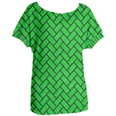 Brick2 Black Marble & Green Colored Pencil (r) Women s Oversized Tee