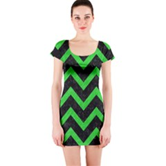 Chevron9 Black Marble & Green Colored Pencil Short Sleeve Bodycon Dress