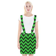 Chevron9 Black Marble & Green Colored Pencil (r) Braces Suspender Skirt