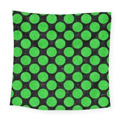 Circles2 Black Marble & Green Colored Pencil Square Tapestry (large) by trendistuff