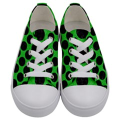 Circles2 Black Marble & Green Colored Pencil (r) Kids  Low Top Canvas Sneakers