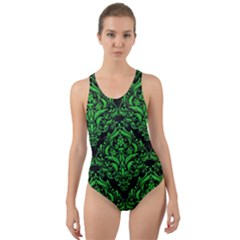 Damask1 Black Marble & Green Colored Pencil Cut Out Back One Piece Swimsuit