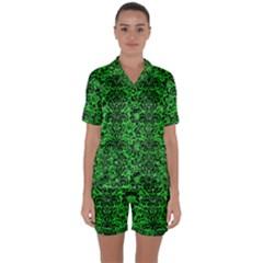 Damask2 Black Marble & Green Colored Pencil (r) Satin Short Sleeve Pyjamas Set