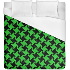 Houndstooth2 Black Marble & Green Colored Pencil Duvet Cover (king Size) by trendistuff