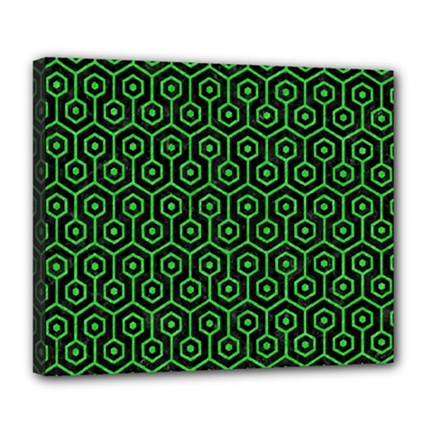Hexagon1 Black Marble & Green Colored Pencil Deluxe Canvas 24  X 20   by trendistuff