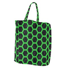 Hexagon2 Black Marble & Green Colored Pencil Giant Grocery Zipper Tote by trendistuff