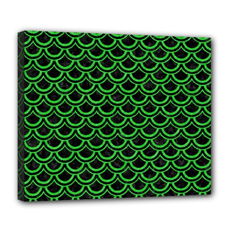 Scales2 Black Marble & Green Colored Pencil Deluxe Canvas 24  X 20   by trendistuff
