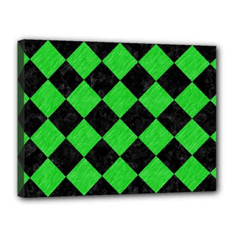 Square2 Black Marble & Green Colored Pencil Canvas 16  X 12  by trendistuff